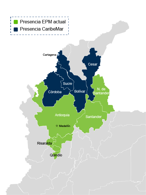 EPM Geographic Presence in Colombia