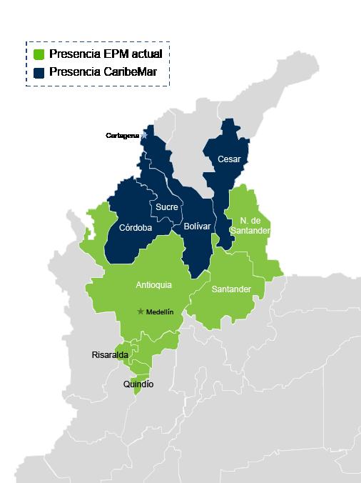 Presencia Geográfica EPM en Colombia
